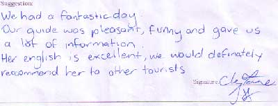Testimonial of Xian City Tour